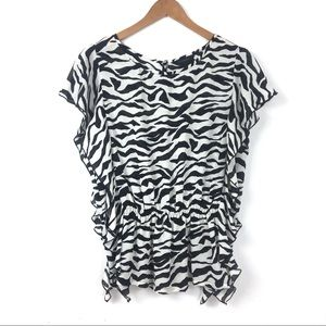 Investments | Side Ruffle Hem Animal Print Blouse